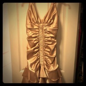 Jessica McClintock Gold Rouged Prom Dress